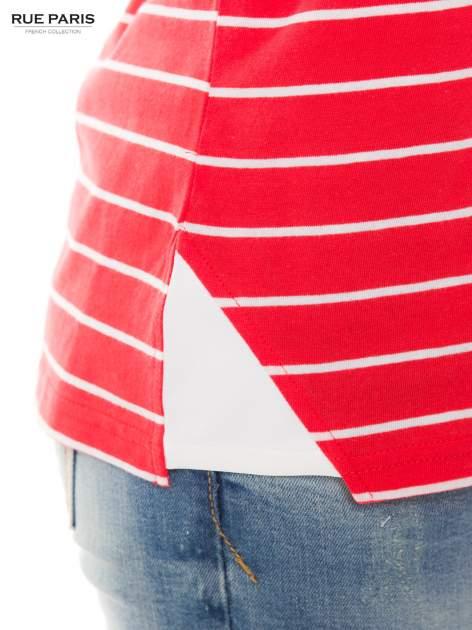 Bawełniana bluzka w koralowo-białe paski z rękawem 3/4                                  zdj.                                  5