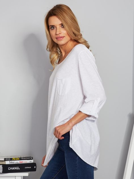 Bawełniana bluzka w łódkę z kieszenią biała                              zdj.                              5