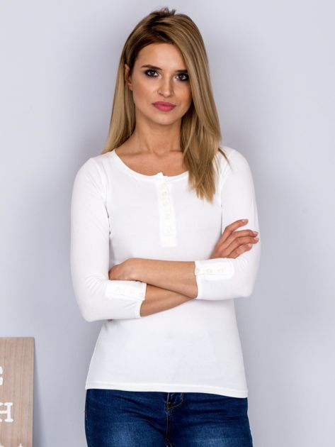 Bawełniana bluzka z guzikami ecru                              zdj.                              1