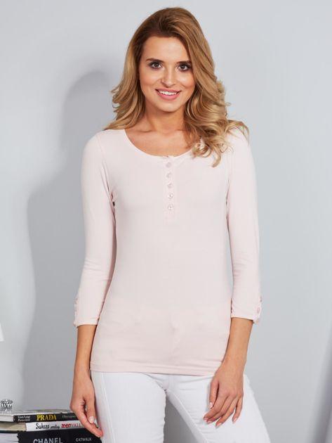 Bawełniana bluzka z guzikami jasnoróżowa                              zdj.                              1