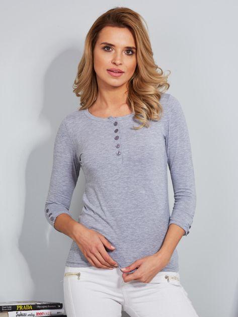 Bawełniana bluzka z guzikami jasnoszara                              zdj.                              1
