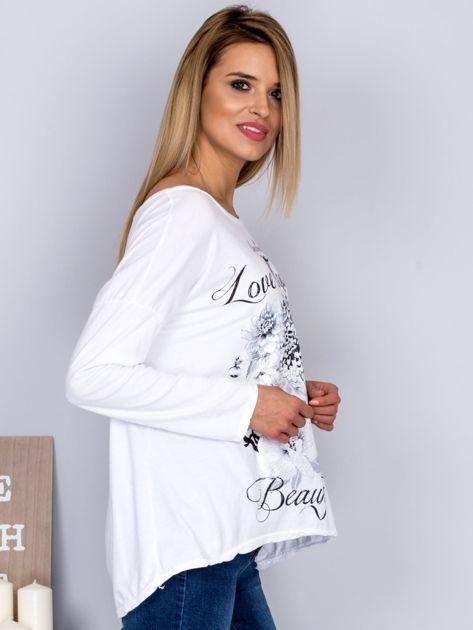 Bawełniana bluzka z nadrukiem kwiatów biała                              zdj.                              3