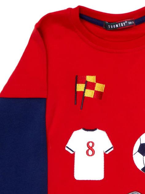 Bawełniana czerwona bluzka dla chłopca ze sportowymi naszywkami                              zdj.                              7