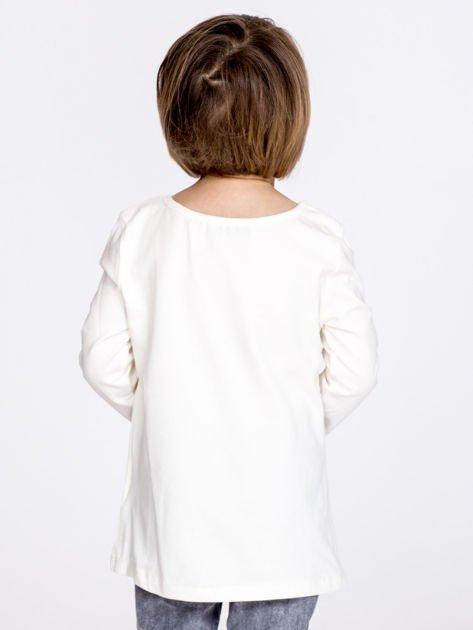 Bawełniana ecru bluzka dziewczęca z cekinowym sercem                              zdj.                              3