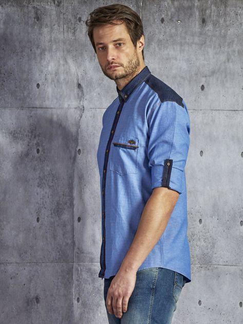 Bawełniana gładka koszula męska z kieszenią niebieska PLUS SIZE                              zdj.                              3