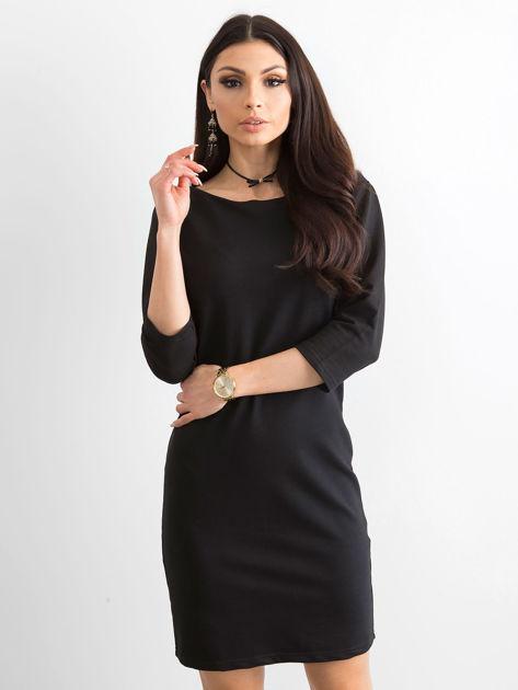 Bawełniana gładka sukienka oversize czarna                              zdj.                              1