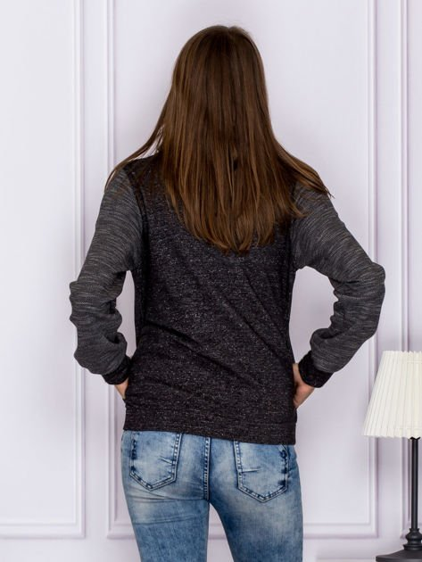 Bawełniana melanżowa bluza na suwak ciemnoszara                                  zdj.                                  2