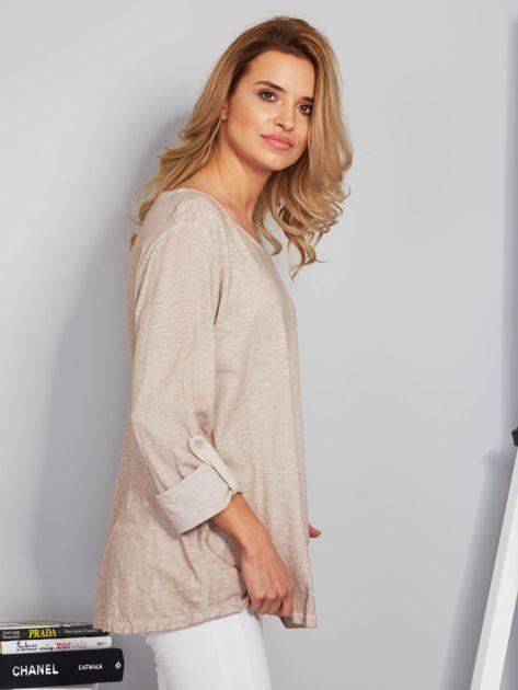 Bawełniana melanżowa bluzka beżowa                              zdj.                              3