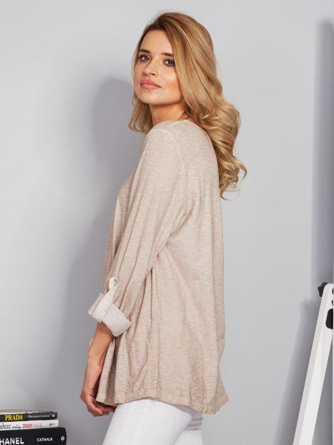 Bawełniana melanżowa bluzka beżowa                              zdj.                              5