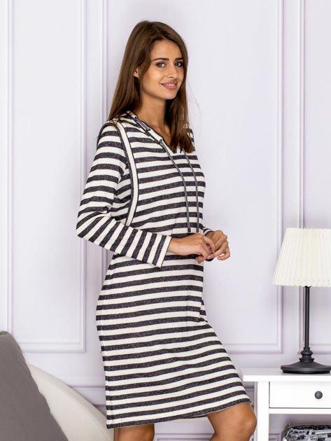 Bawełniana sukienka w paski ze sznurowaniem szara                                  zdj.                                  3