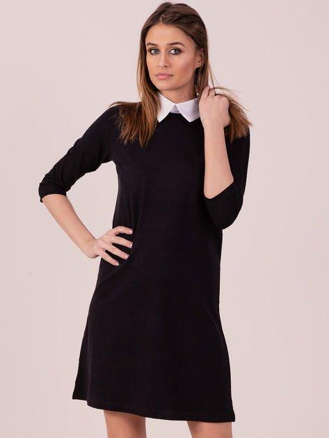 Bawełniana sukienka z kołnierzykiem czarna                              zdj.                              1