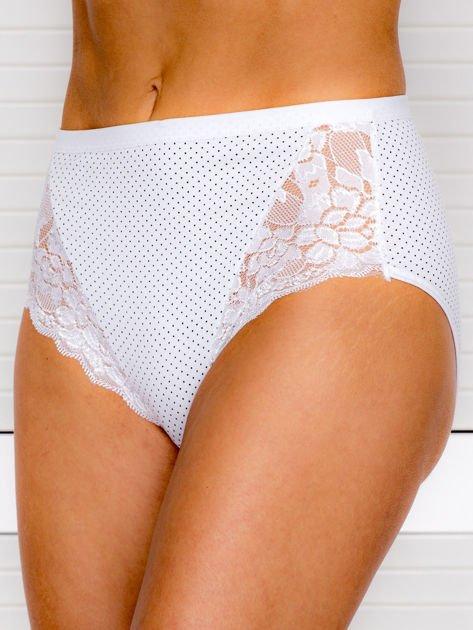 Bawełniane figi damskie high waist w kropki 2-pak biało-beżowe                              zdj.                              2