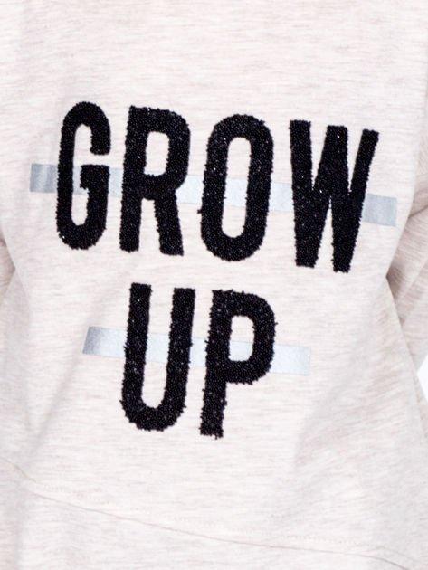 Beżowa bawełniana bluzka dziewczęca GROW UP ze ściągaczem                              zdj.                              2