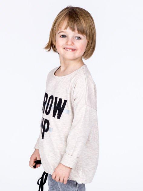 Beżowa bawełniana bluzka dziewczęca GROW UP ze ściągaczem                              zdj.                              1