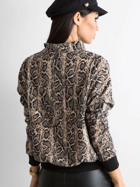 Beżowa bluza w zwierzęce wzory                               zdj.                              2