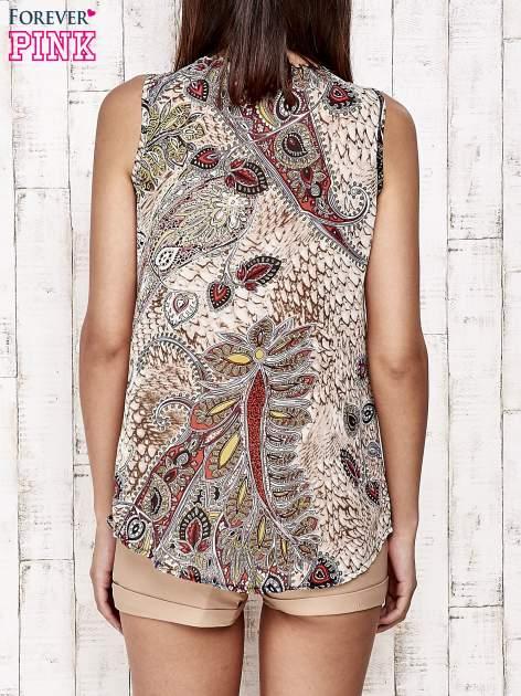 Beżowa bluzka koszulowa w etniczne motywy                                  zdj.                                  5