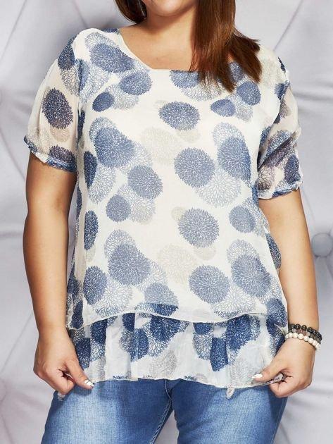 Beżowa bluzka mgiełka w kolorowe wzory PLUS SIZE