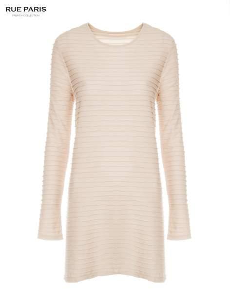 Beżowa dresowa sukienka w prążkowany wzór                                  zdj.                                  6