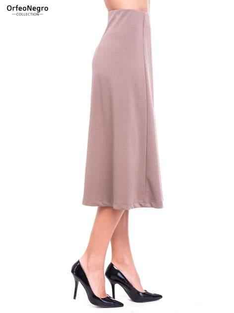 Beżowa elegancka spódnica midi o rozkloszowanym kroju                                  zdj.                                  3
