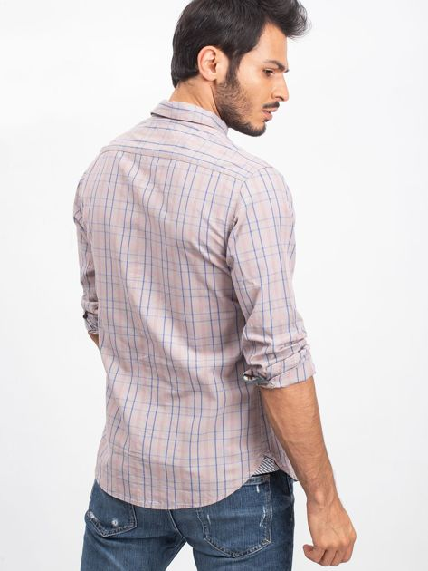 Beżowa koszula męska Casual                              zdj.                              2