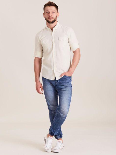 Beżowa koszula męska z bawełny                              zdj.                              4