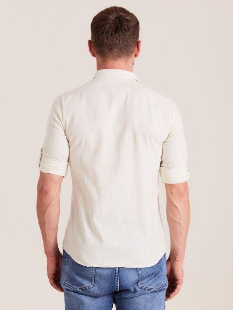 Beżowa koszula męska z bawełny                              zdj.                              2