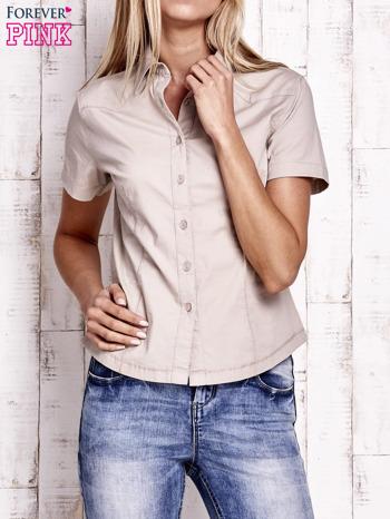 Beżowa koszula z krótkim rękawem                                  zdj.                                  1