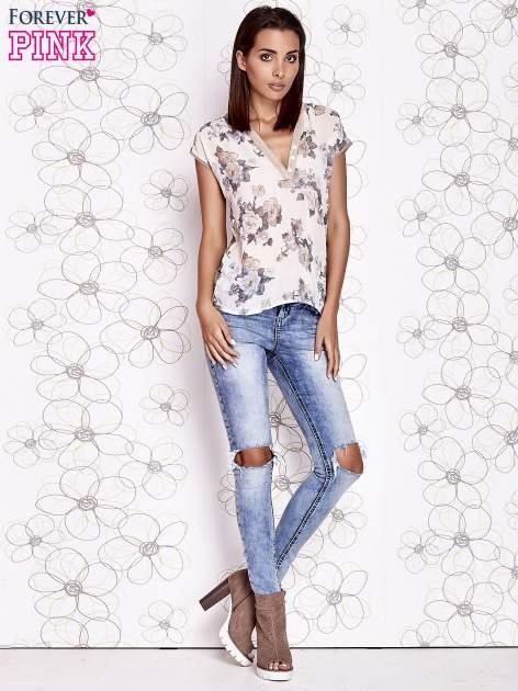 Beżowa koszula z kwiatowym motywem i ażurowym tyłem                                  zdj.                                  5