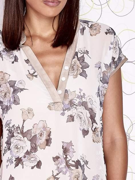 Beżowa koszula z kwiatowym motywem i ażurowym tyłem                                  zdj.                                  6