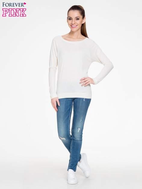 Beżowa melanżowa bawełniana bluzka z rękawami typu reglan                                  zdj.                                  2