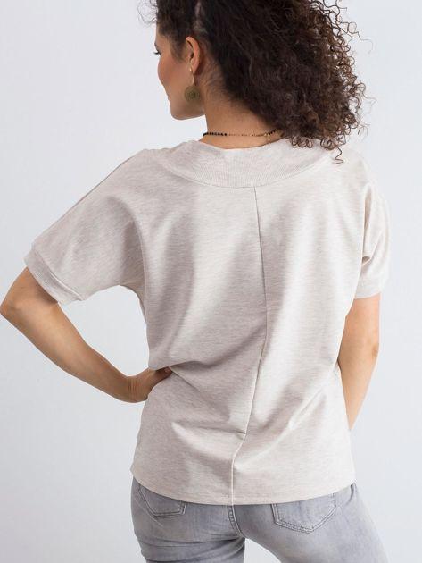 Beżowa melanżowa bluzka Lemontree                              zdj.                              2