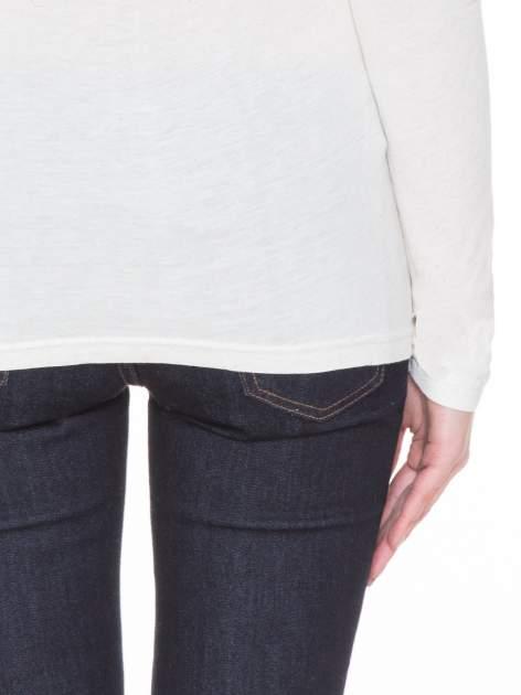 Beżowa melanżowa gładka bluzka z reglanowymi rękawami                                  zdj.                                  6