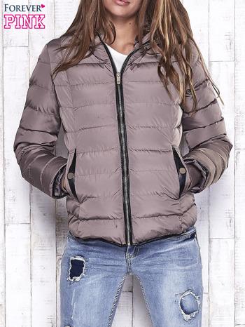 Beżowa pikowana kurtka ze złotymi suwakami                                  zdj.                                  1