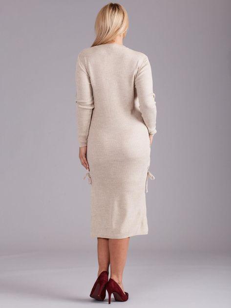 9ba0b42e87 Beżowa sukienka dzianinowa PLUS SIZE - Sukienka plus size - sklep ...