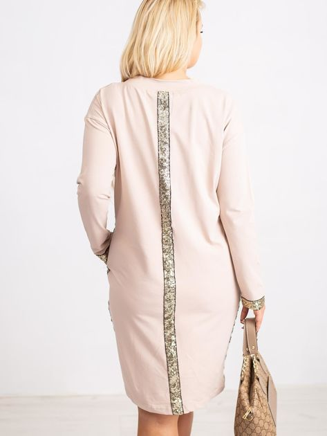 Beżowa sukienka plus size Mode                              zdj.                              2