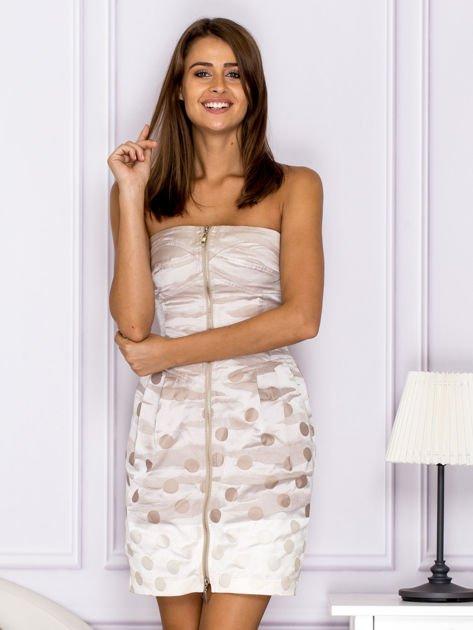 Beżowa sukienka w grochy                               zdj.                              1