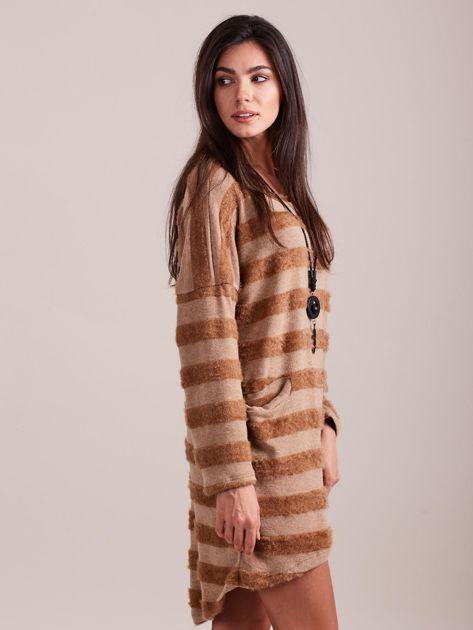 Beżowa sukienka w paski                              zdj.                              5