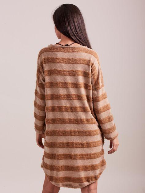 Beżowa sukienka w paski                              zdj.                              4