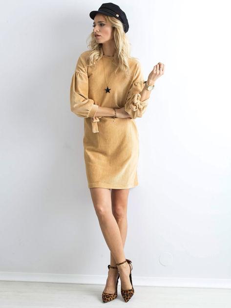 Beżowa sztruksowa sukienka                              zdj.                              4