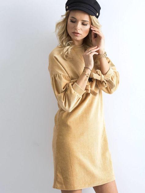 Beżowa sztruksowa sukienka                              zdj.                              1
