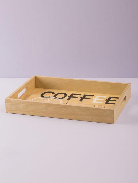 Beżowa taca drewniana z napisem                              zdj.                              3