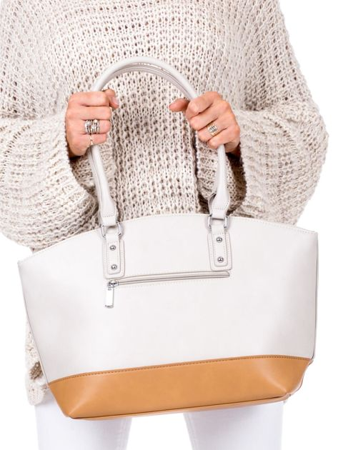 Beżowa torba damska two tone                              zdj.                              3