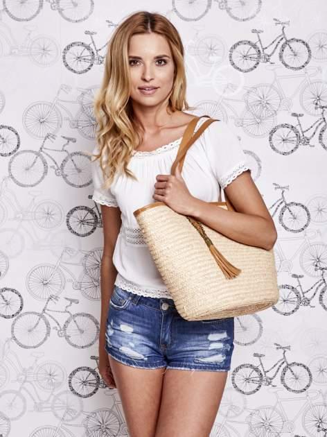 Beżowa torba koszyk plażowy ze skórzanymi rączkami                                  zdj.                                  7