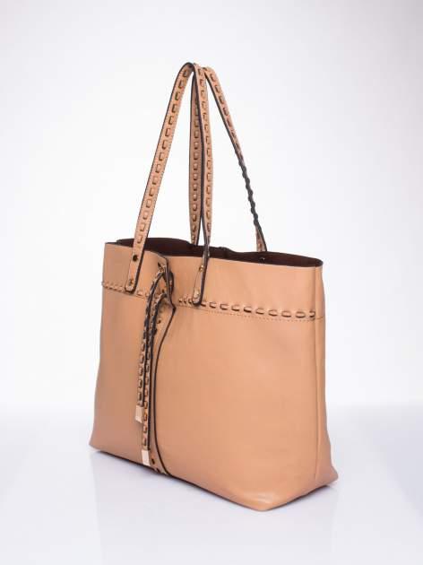 Beżowa torba z przeplatanym paskiem                                  zdj.                                  3