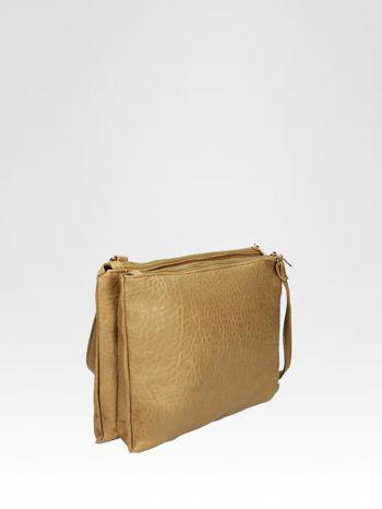 Beżowa torebka dwukomorowa z paskiem                                  zdj.                                  2