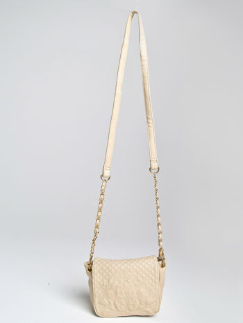 Beżowa torebka na ramię na pasku łańcuszku                                  zdj.                                  1