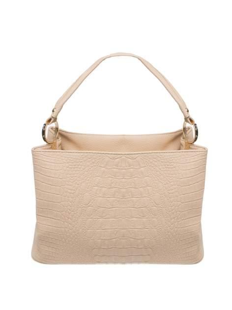 Beżowa torebka na ramię tłoczona na wzór skóry krokodyla                                  zdj.                                  1
