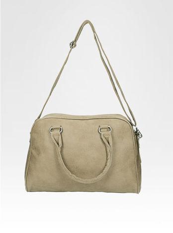 Beżowa torebka typu miękki kuferek z dodatkowym paskiem                                  zdj.                                  5
