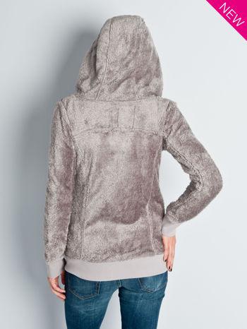 Beżowa włochata bluza z kapturem i suwakami                                  zdj.                                  8
