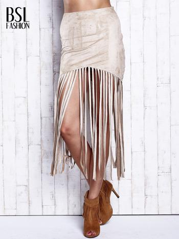 Beżowa zamszowa spódnica z frędzlami                                  zdj.                                  1